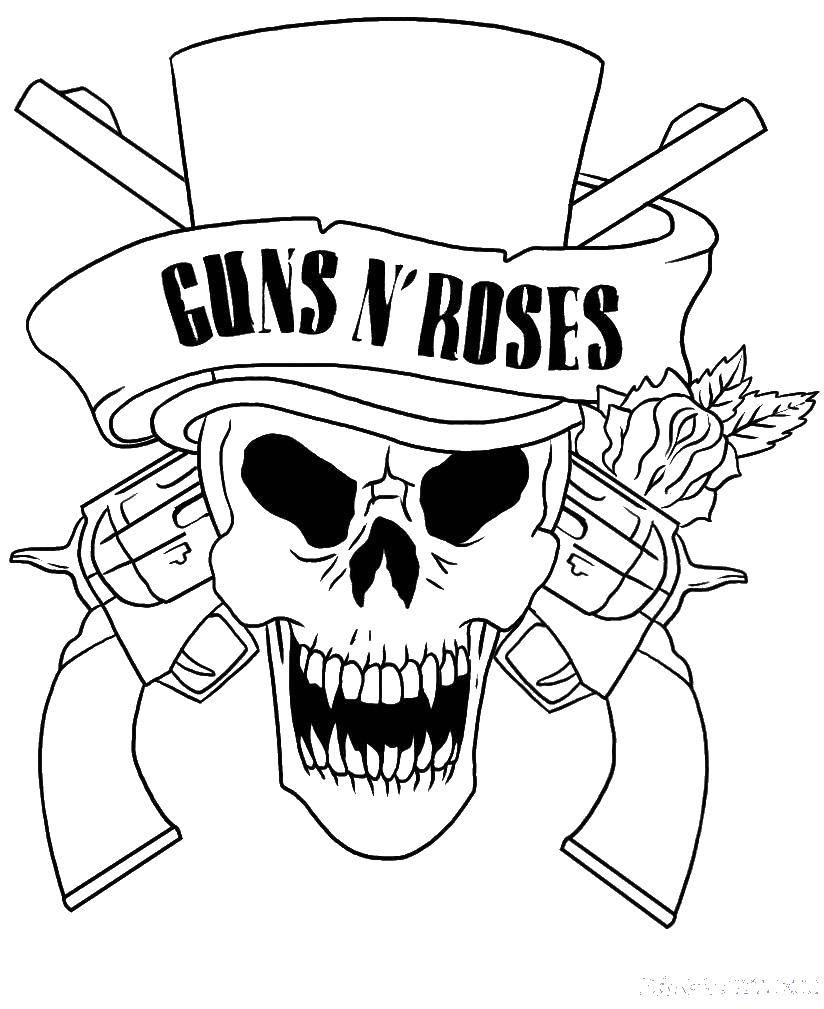 Раскраска череп Скачать ,череп, пистолеты, розы,.  Распечатать