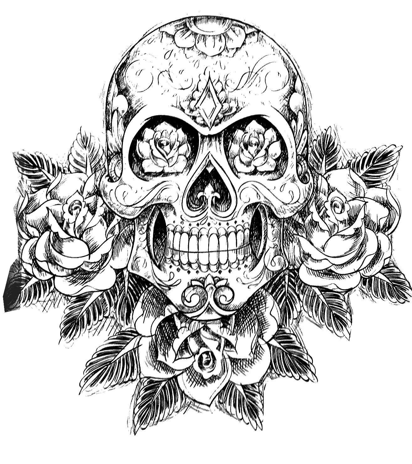Название: Раскраска Череп в цветах. Категория: Череп. Теги: череп, узоры, цветы.