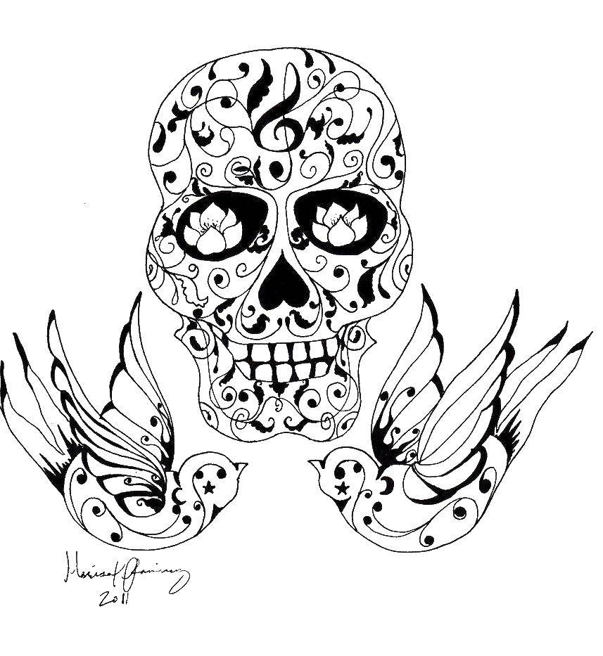 Раскраска череп Скачать Персонаж из мультфильма, Время Приключений .  Распечатать ,Персонаж из мультфильма,