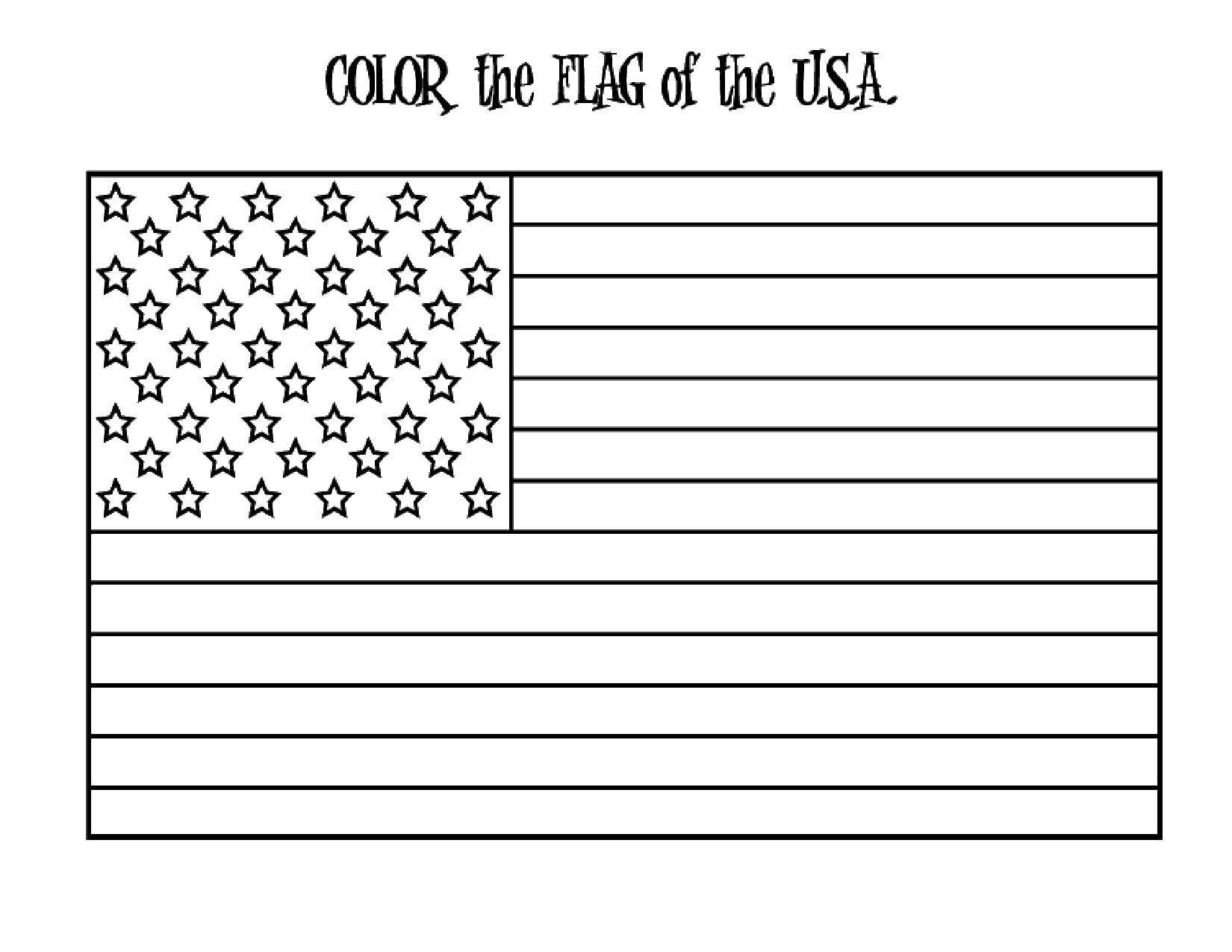 Раскраска США Скачать ,Флаг,.  Распечатать