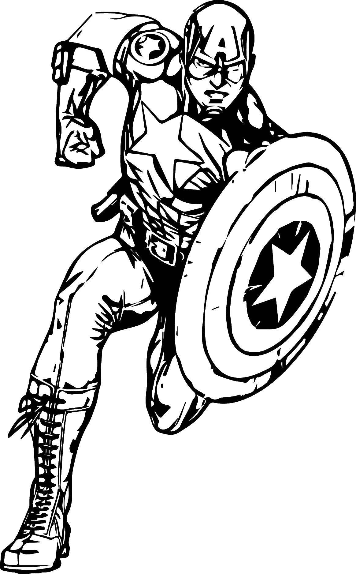Раскраска Капитан америка с щитом Скачать Комиксы, Капитан Америка.  Распечатать ,Комиксы,