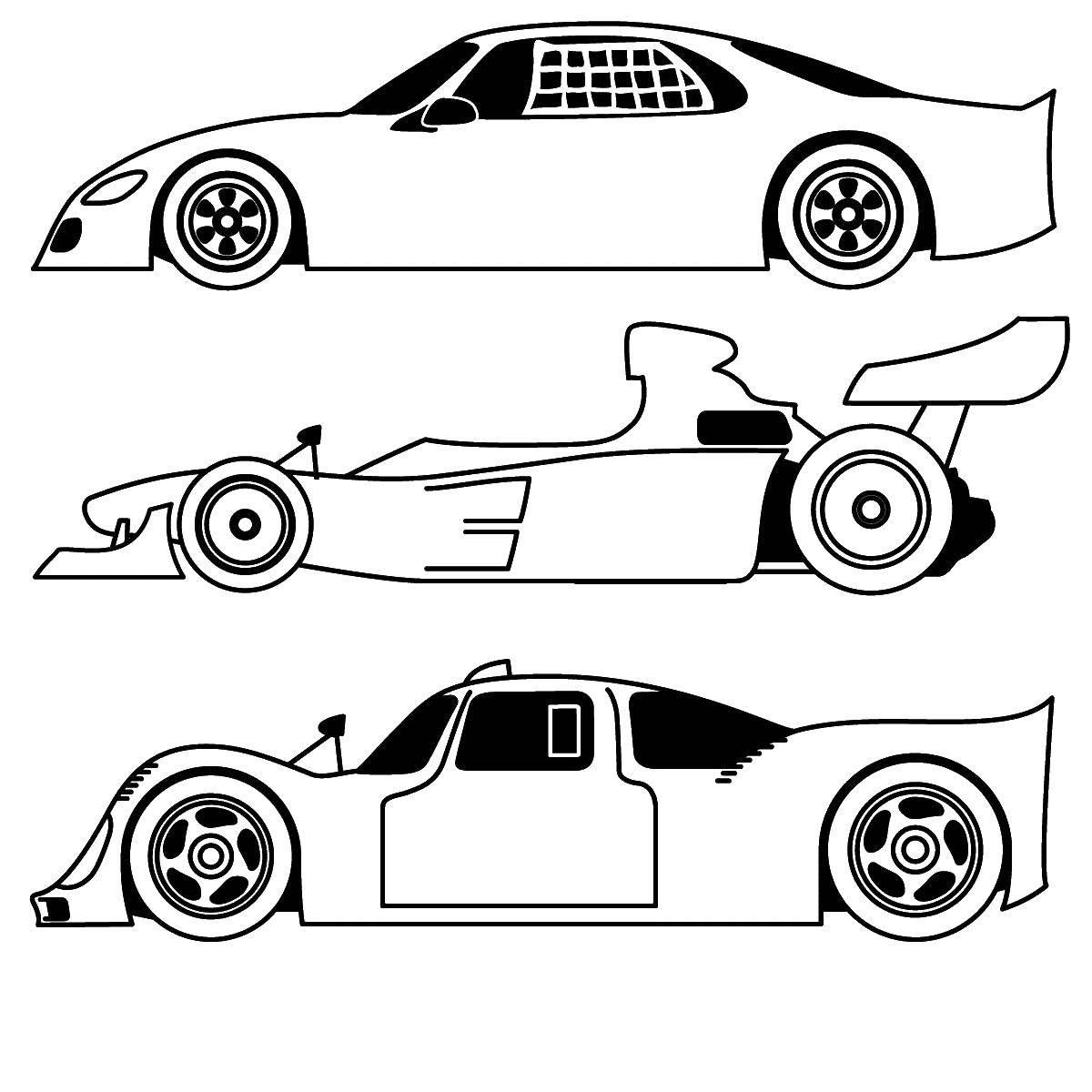 Раскраска Гоночные машины Скачать машины, транспорт, гоночные автомобили.  Распечатать ,машины,