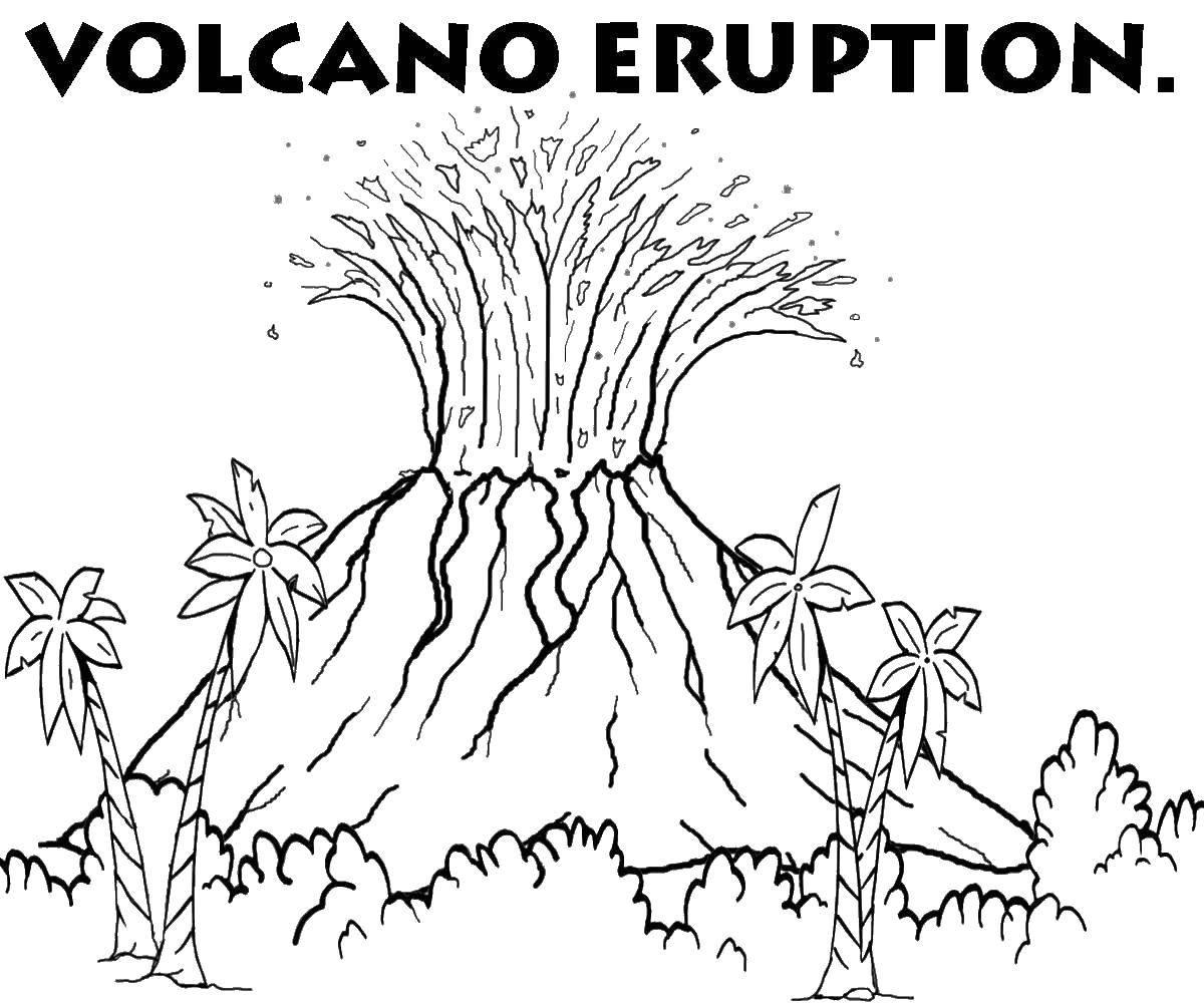 Раскраска Неживая природа Скачать ,вулкан, извержение,.  Распечатать