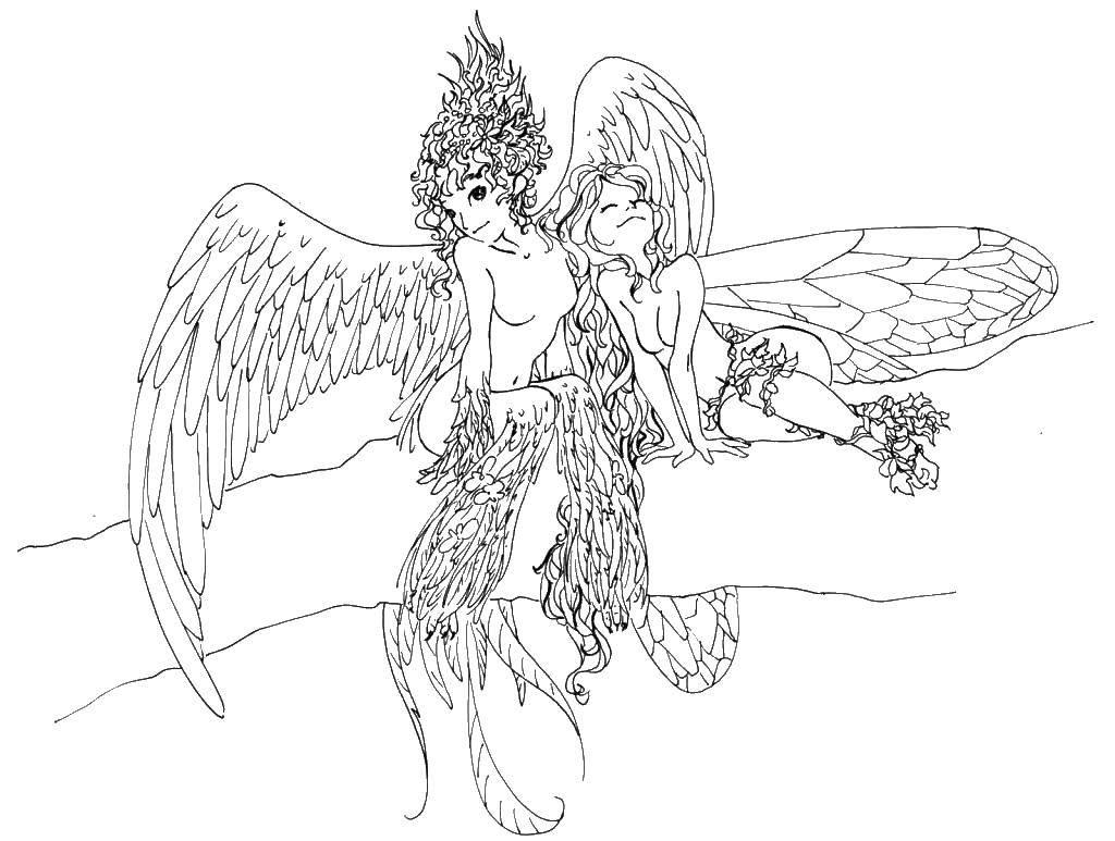 Раскраска Девушки ангелы Скачать девочки.  Распечатать ,ангел,