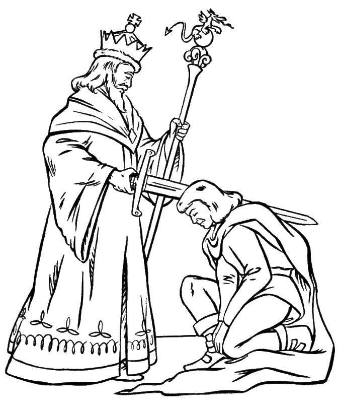 Раскраска Король посвящает рыцаря Скачать король, рыцарь, королевство.  Распечатать ,Рыцари,