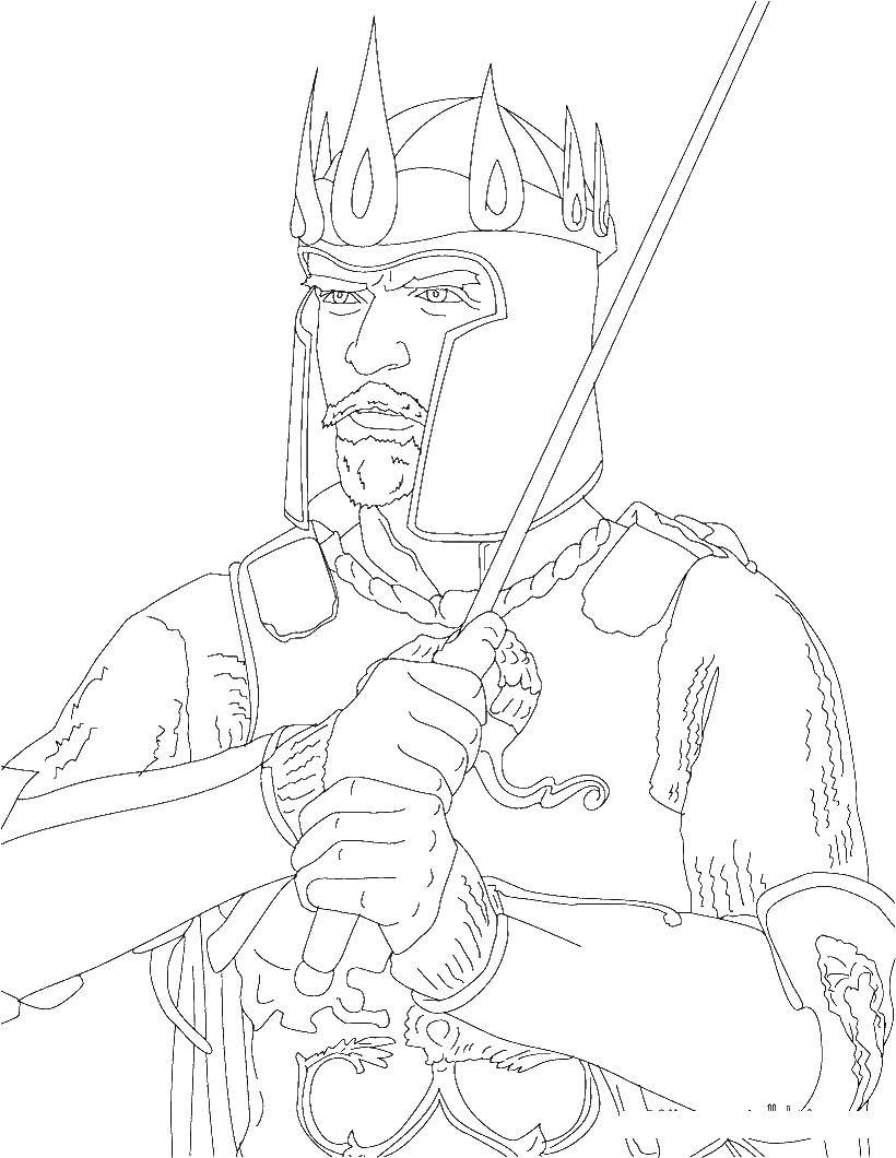 Раскраска Король в бою Скачать король, бой, меч.  Распечатать ,Король,