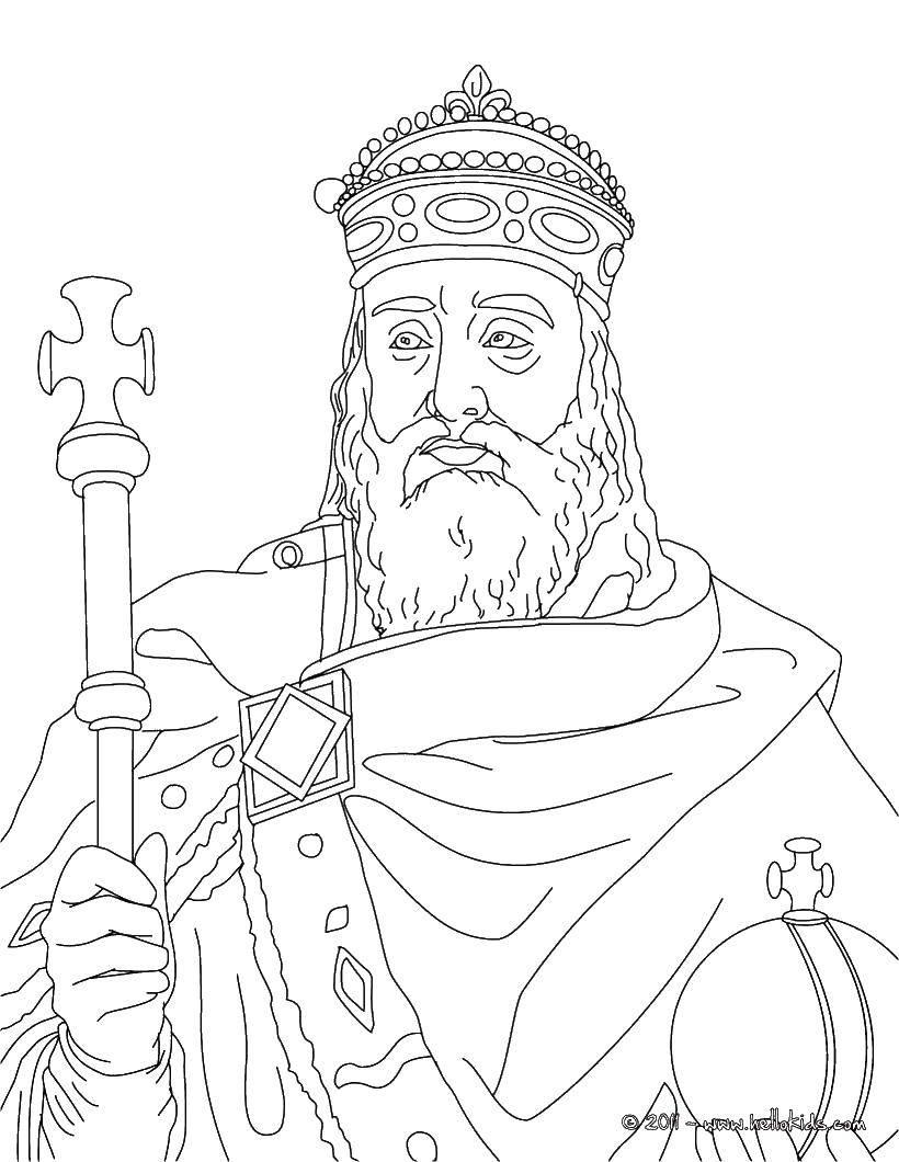 Раскраска Король Скачать король, жезл, корона.  Распечатать ,Король,