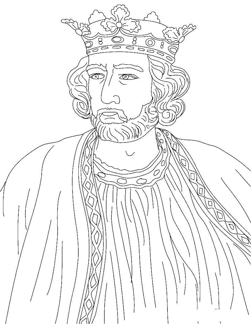 Раскраска Король Скачать король, корона.  Распечатать ,Король,