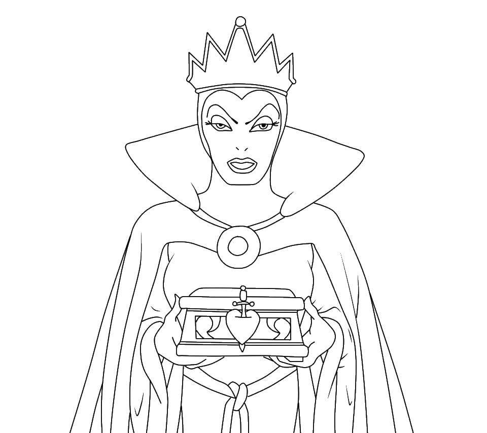 Раскраска Королева Скачать ,королева, корона, снежная королева,.  Распечатать