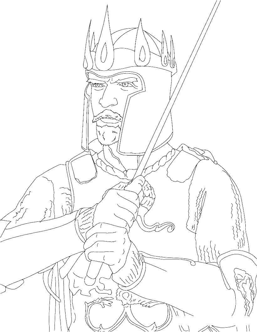 Раскраска Король в доспехах с мечем. Скачать король, доспехи, меч.  Распечатать ,король и королева,