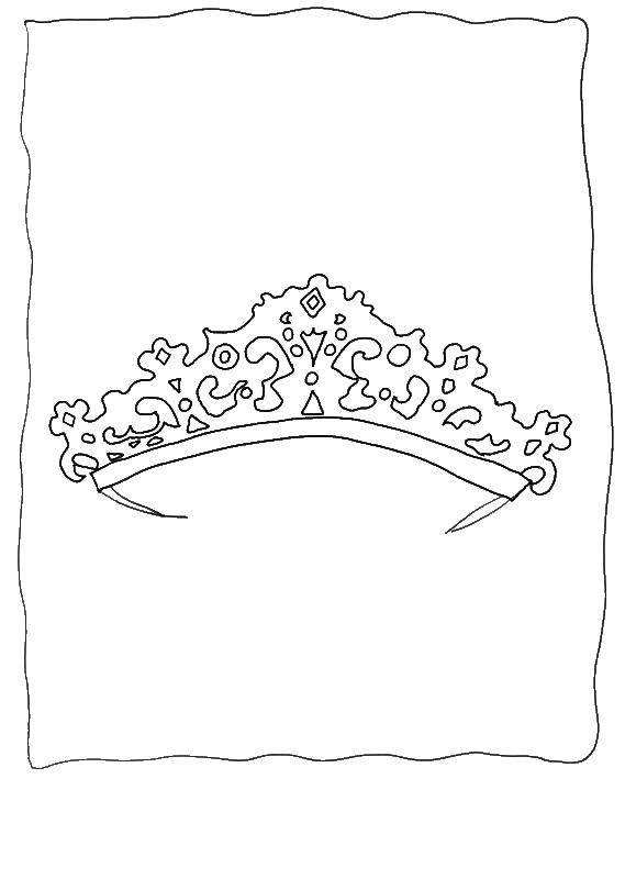 Раскраска Красивая тиара принцессы Скачать Корона, тиара.  Распечатать ,Корона,