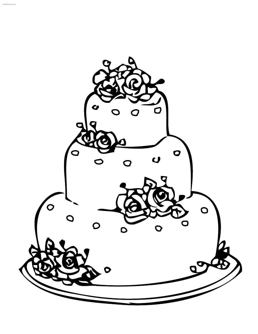 Раскраска Торт свадебный Скачать торт, свадьба.  Распечатать ,Свадьба,
