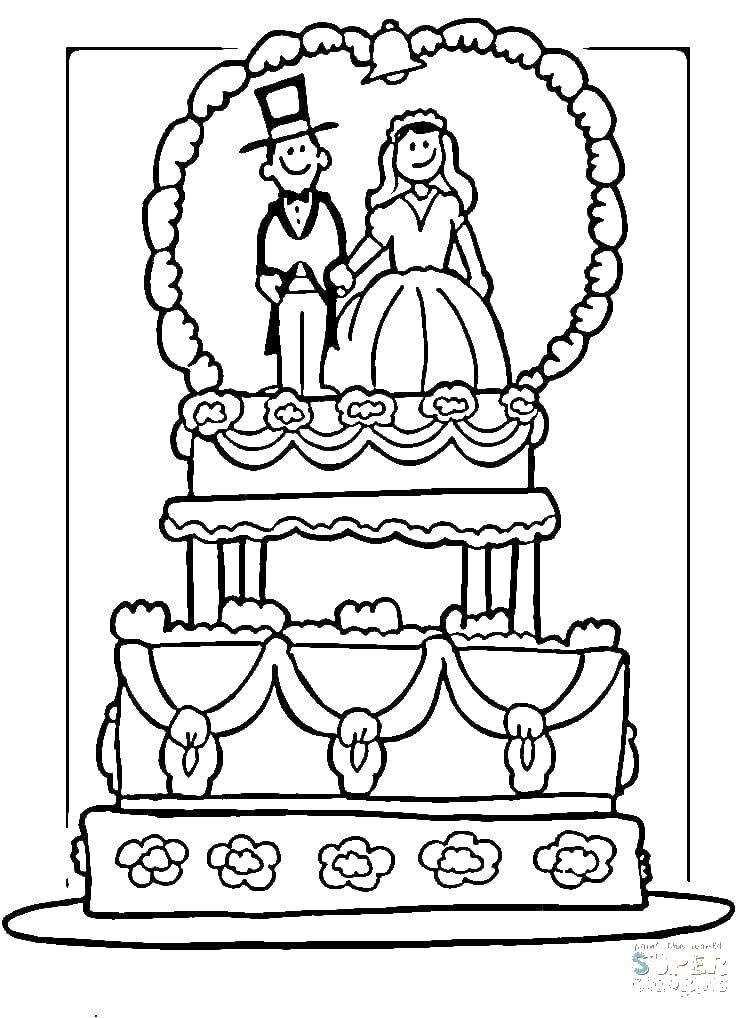Раскраска Торт свадебный Скачать торт, свадьба, букет.  Распечатать ,Свадьба,