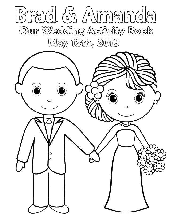 Раскраска Жених и невеста Скачать жених, невеста, свадьба.  Распечатать ,Свадьба,