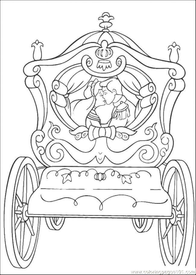 Раскраска Золушка и принц едут в карете Скачать золушка, принц, карета, свадьба.  Распечатать ,Свадьба,