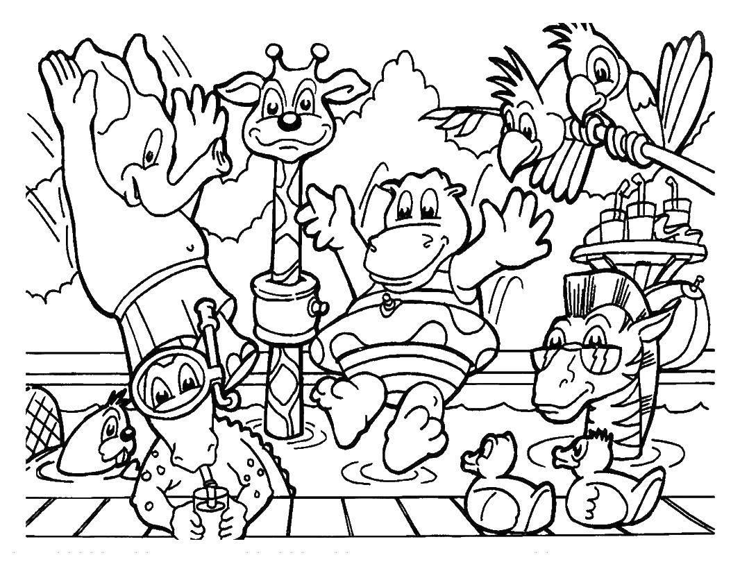 Раскраска Слоненок, бобёр, крокодил, жираф, бегемотик и попугайчики отдыхают у бассейна Скачать Животные.  Распечатать ,животные,