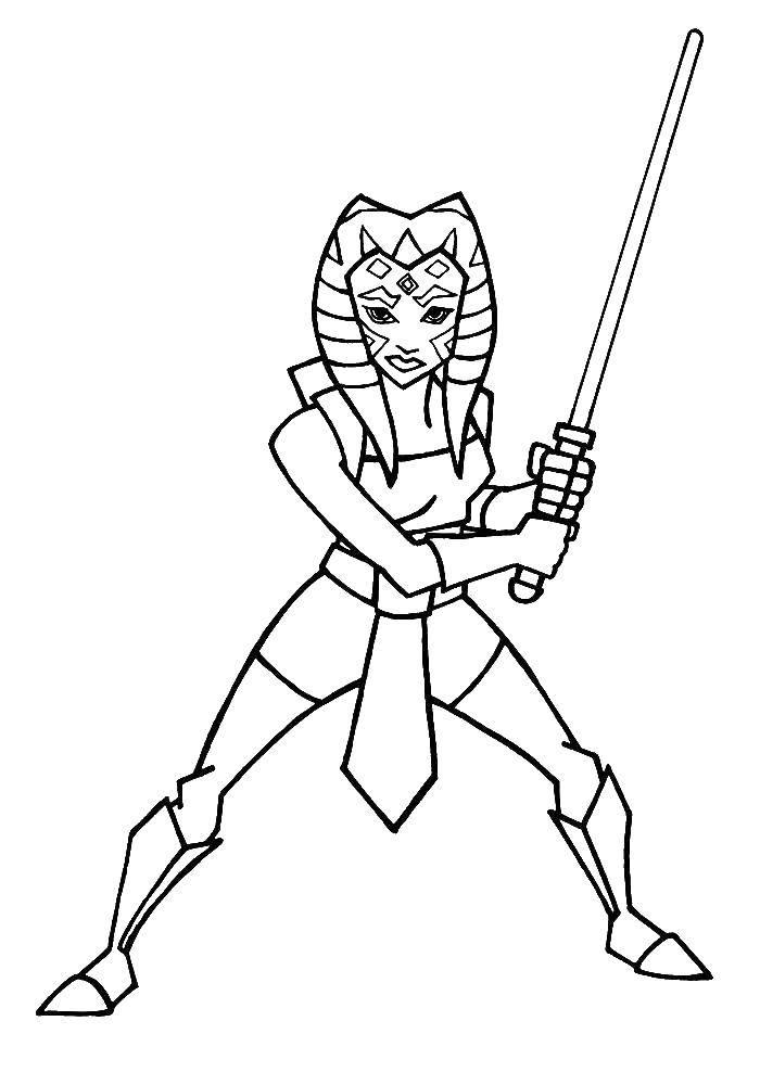 Раскраска Тогрута с мечем из звездных воинов. Скачать Тогрута, звездные воины.  Распечатать ,мультики,