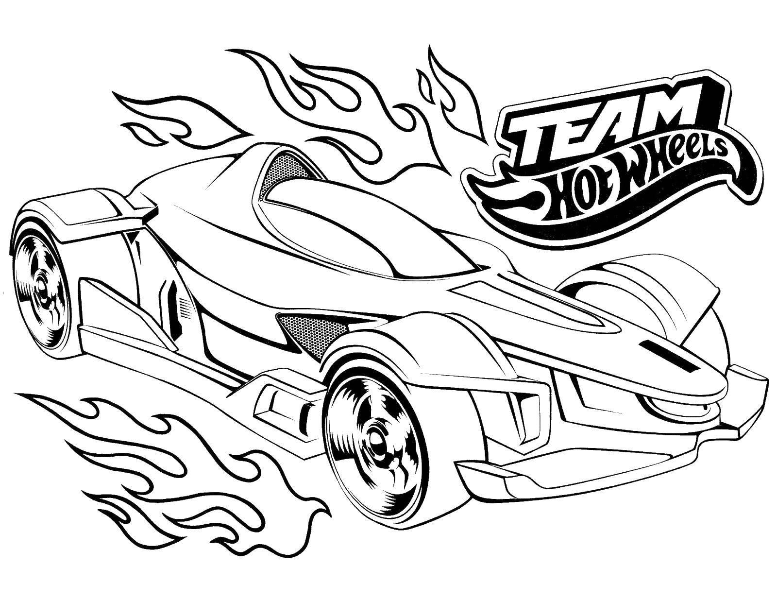Раскраска Гоночная машина с рисунком пламени Скачать Машина, гоночная.  Распечатать ,Машины,