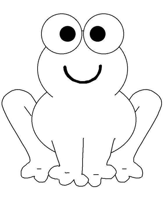 Раскраска Лягушонок с большими глазками Скачать Рептилия, лягушка.  Распечатать ,Раскраски для малышей,