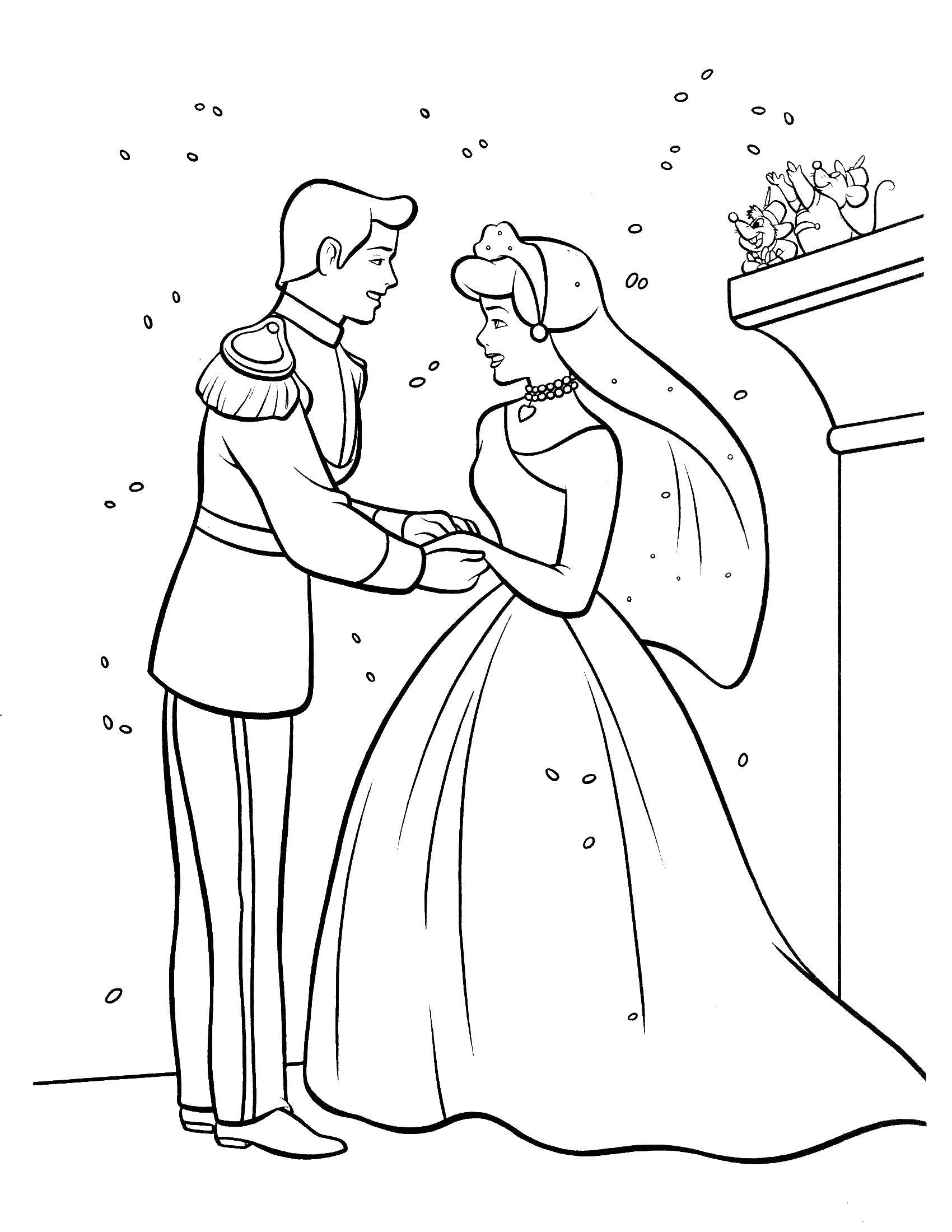 Раскраска Принц и принцесса Скачать свадьба, принц, принцесса.  Распечатать ,Свадьба,