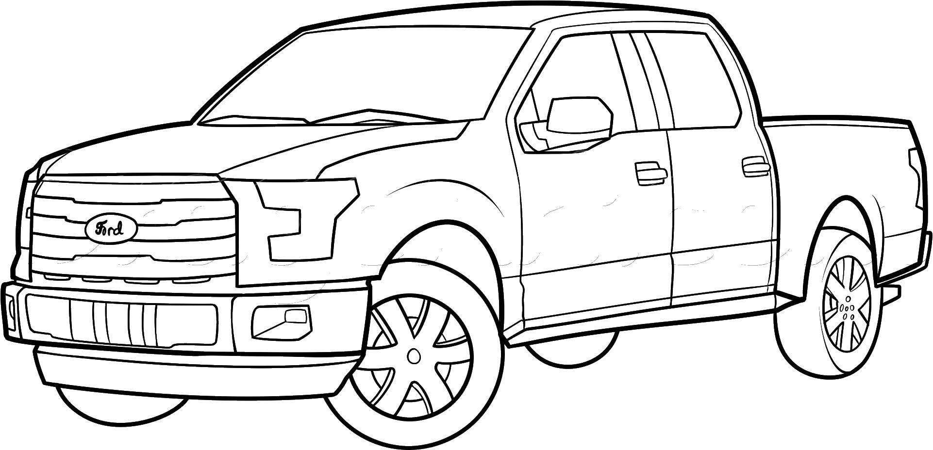 Раскраска Пикап Скачать ,машины, транспорт, автомобиль, пикап,.  Распечатать