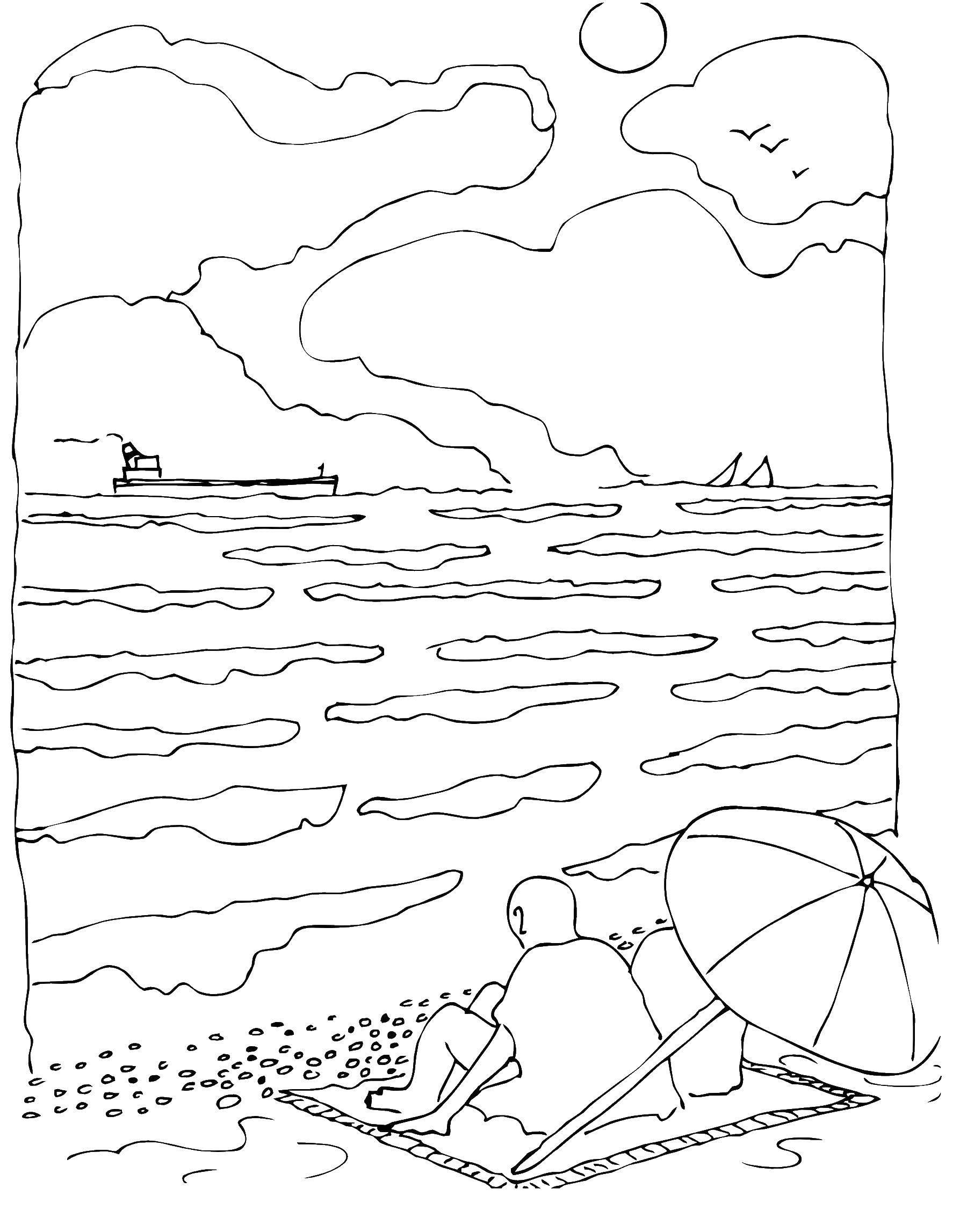 Раскраска Пляж Скачать ,предметы, корзины,.  Распечатать