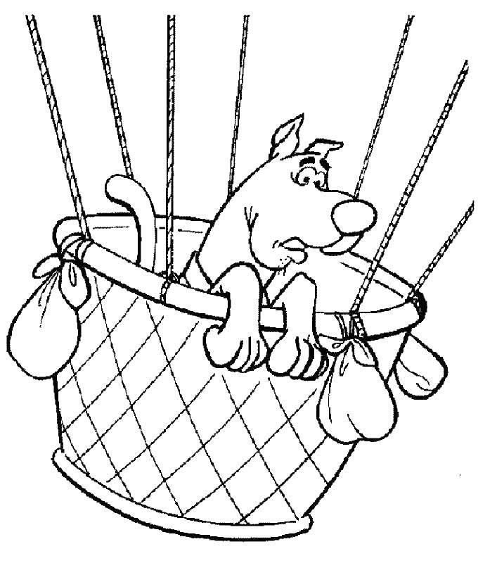Раскраска Скуби ду на воздушном шаре Скачать ску.  Распечатать ,Скуби ду,