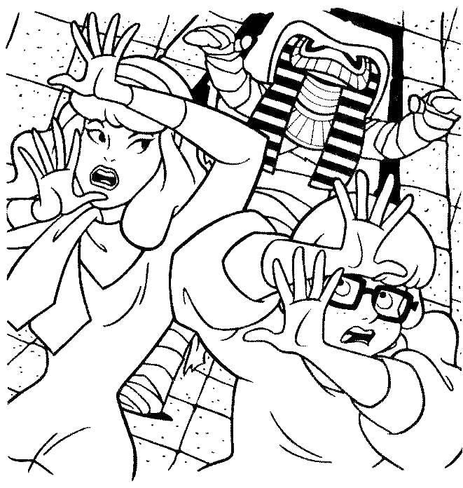 Раскраска Дафна и велма убегают от фараона Скачать Дафна, Фред и Велма, Скуби ду.  Распечатать ,Скуби ду,