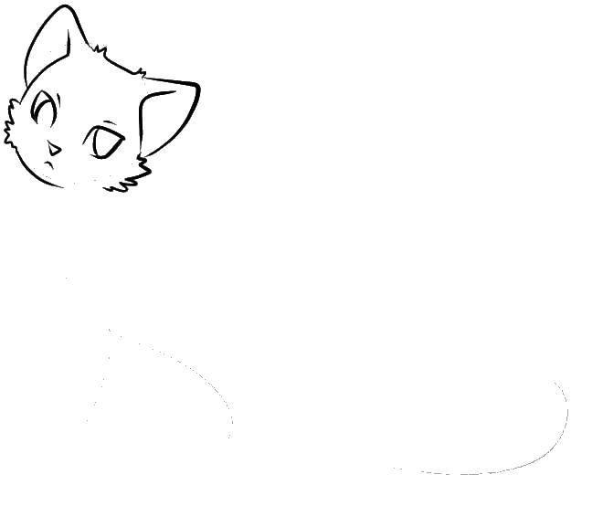 Раскраска Голова кошечки аниме Скачать аниме, рисуем, кошка.  Распечатать ,аниме кошки,