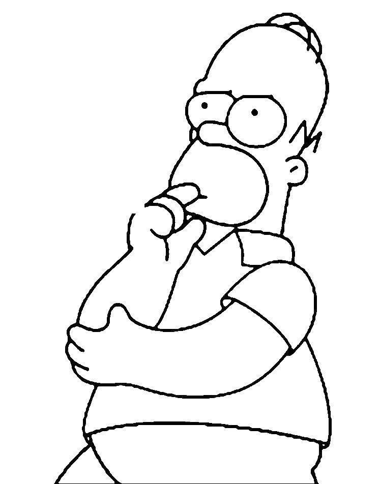 Раскраска Гомер симпсон думает Скачать ,Гомер Симпсон, Симпсоны,.  Распечатать