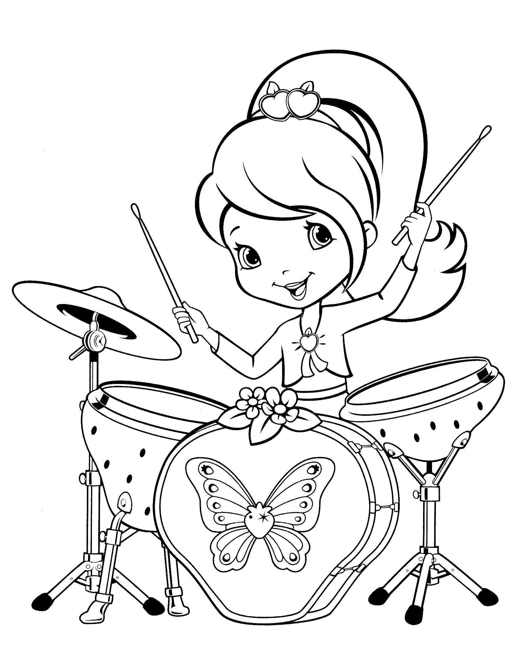 Раскраска Шарлотта земляничка играет на барабанах Скачать шарлотта, клубничка.  Распечатать ,шарлотта земляничка мультики,