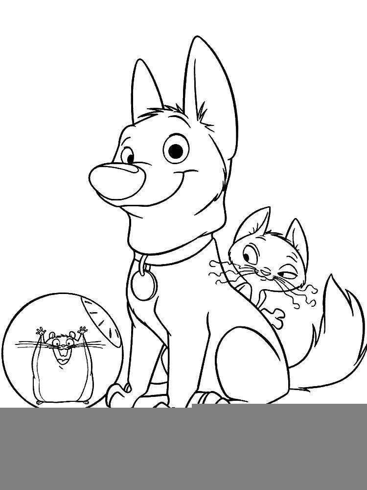 Раскраска Собака вольт и его друзья Скачать Вольт, собака.  Распечатать ,Вольт мультик,