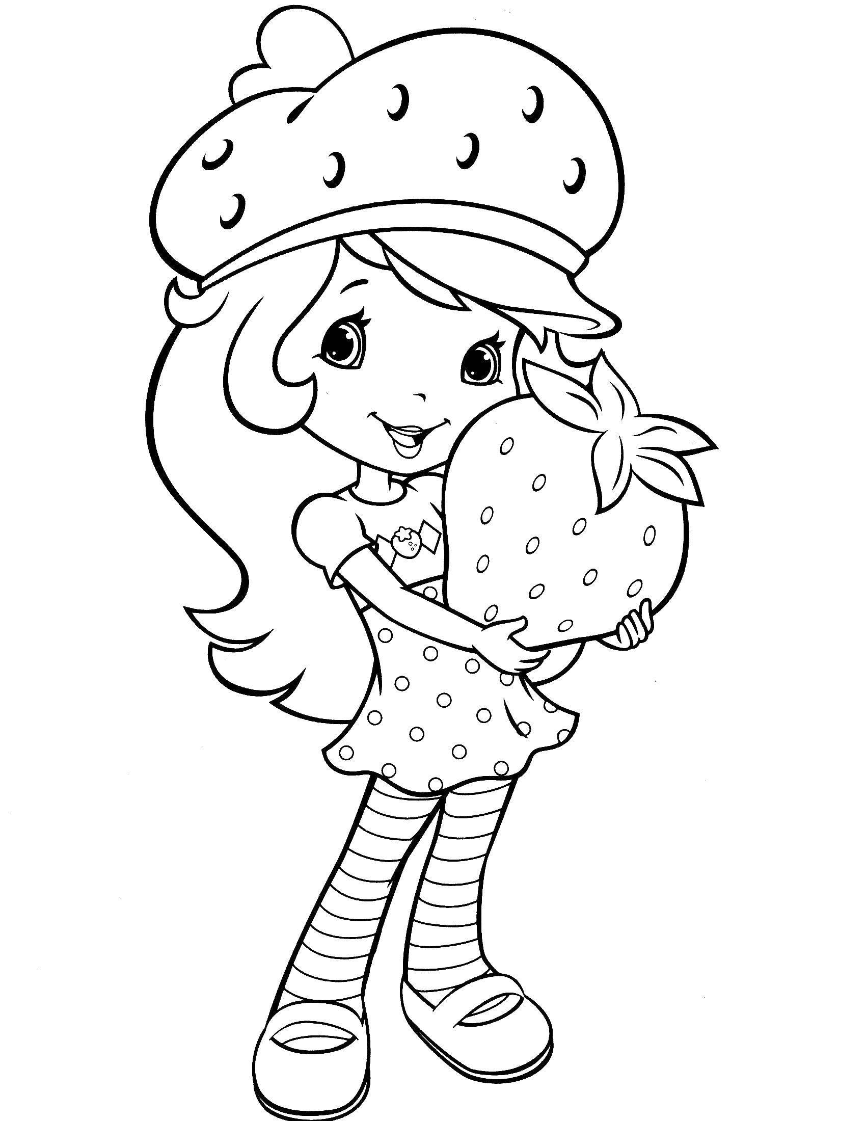 Раскраска Шарлотта земляничка с клубничкой Скачать шарлотта, земляничка, мультики.  Распечатать ,шарлотта земляничка мультики,