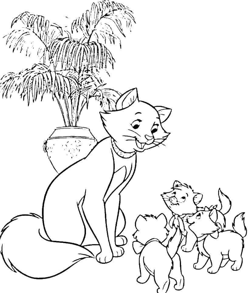 раскраски раскраска герцоги ня с тремя котятами коты