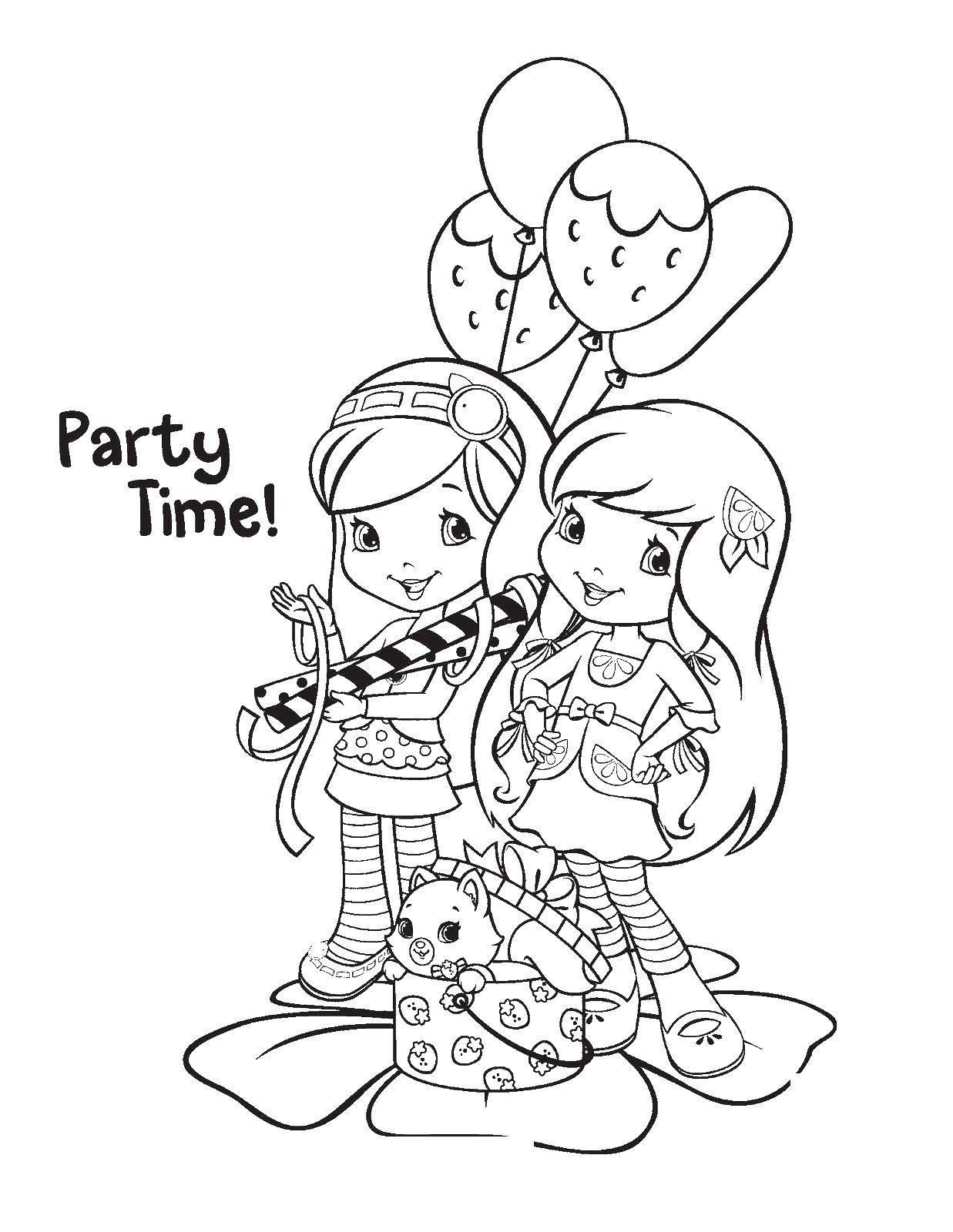 Раскраска Шарлотта земляничка и лимонка учтраивают вечеринку Скачать шарлотта, клубничка, лимонка.  Распечатать ,шарлотта земляничка мультики,