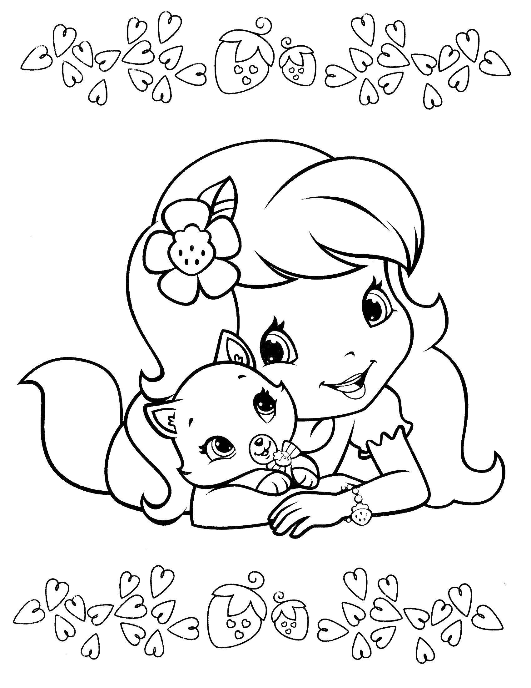 Раскраска Шарлотта земляничка обнимает кошечку Скачать шарлотта, земляничка, мультики.  Распечатать ,шарлотта земляничка мультики,