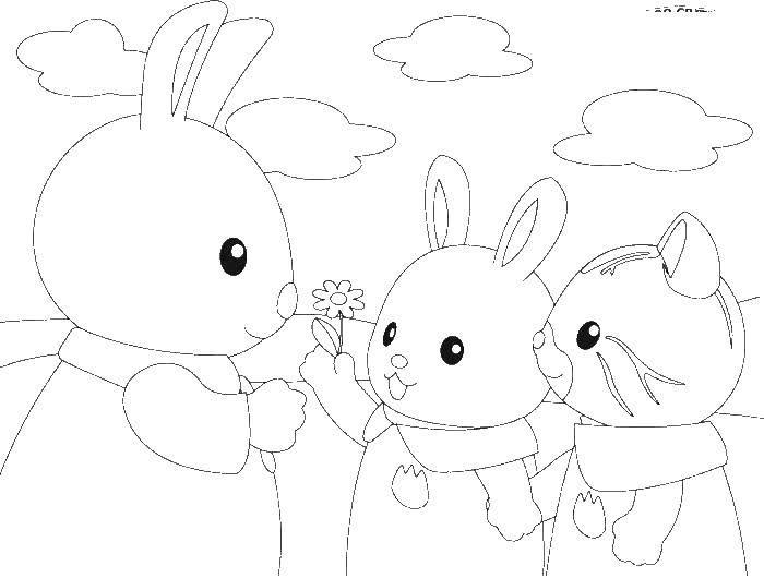Раскраска Зайчик дарит цветок маме Скачать ,юху, зайчики,.  Распечатать