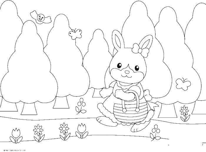 Раскраска Зайчик с сумочкой идет по тропинке Скачать зайчик.  Распечатать ,Животные,
