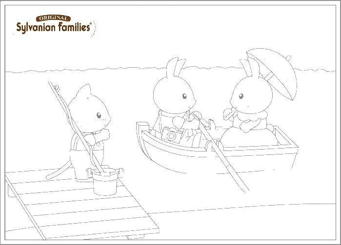 Раскраска Сильвания фэмили катаются на лодке Скачать сильвания фэмили.  Распечатать ,сильвания фэмили,
