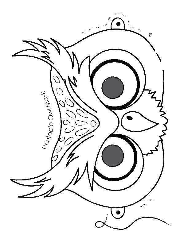 Раскраска Маска совы. Скачать маска. сова.  Распечатать ,маска,