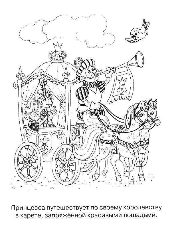 Раскраска Принцессы Скачать ,контур, голова, волосы,.  Распечатать
