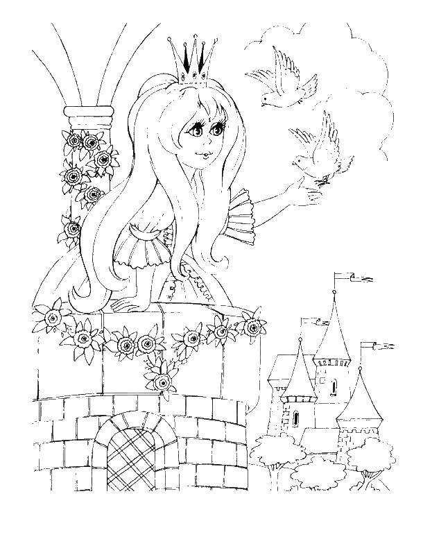 Раскраска Принцесса в замке Скачать принцесса, девочка, замок.  Распечатать ,Принцессы,