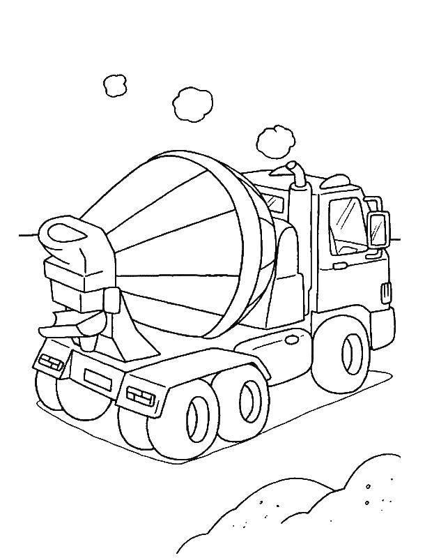 Раскраска Бетономешалка Скачать стройка, машина, техника, бетономешалка.  Распечатать ,строительные инструменты,
