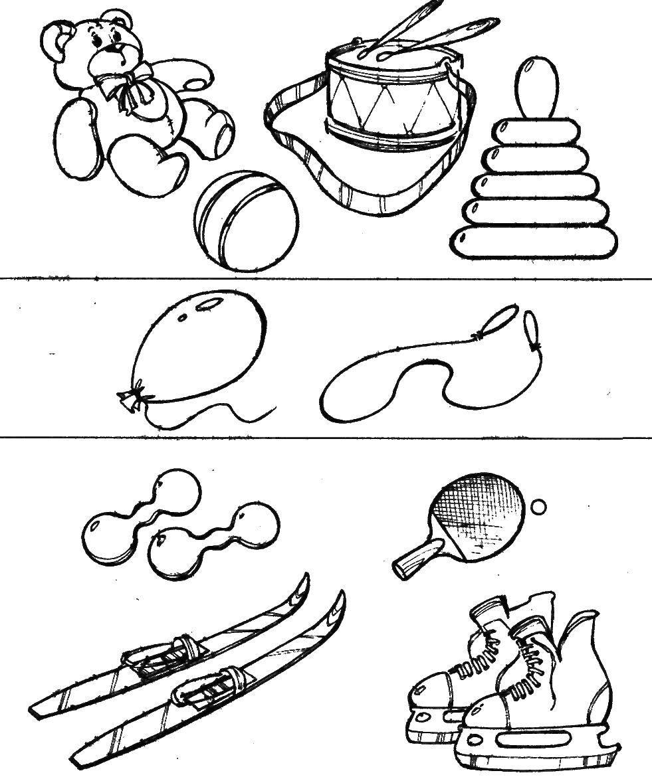 Раскраска Какие предметы подходят друг к другу Скачать ,логика,игрушки, спорт,.  Распечатать