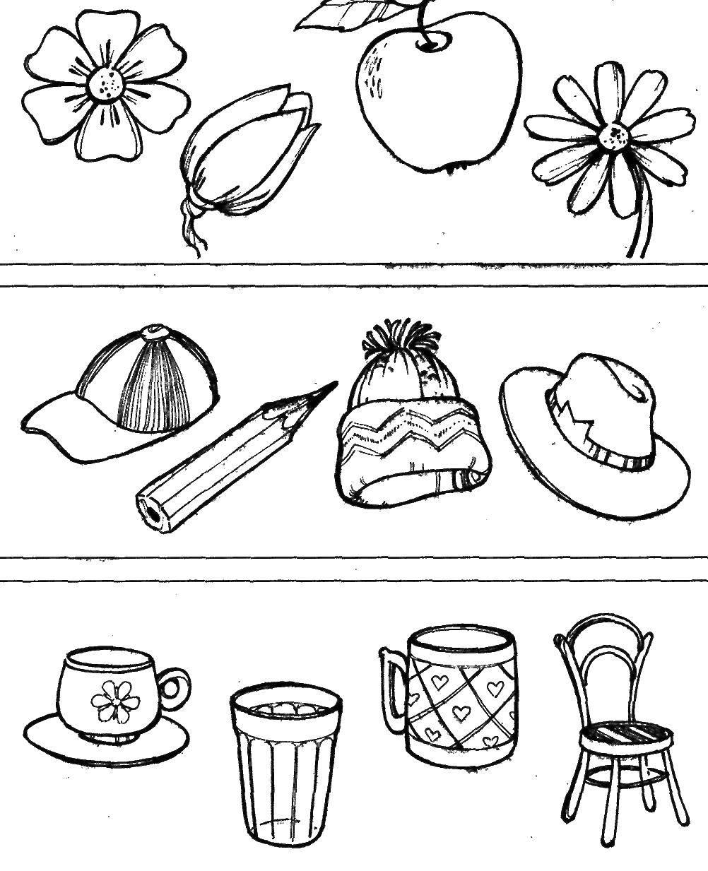 Раскраска Найди лишние предметы Скачать ,предметы, лишнее,.  Распечатать