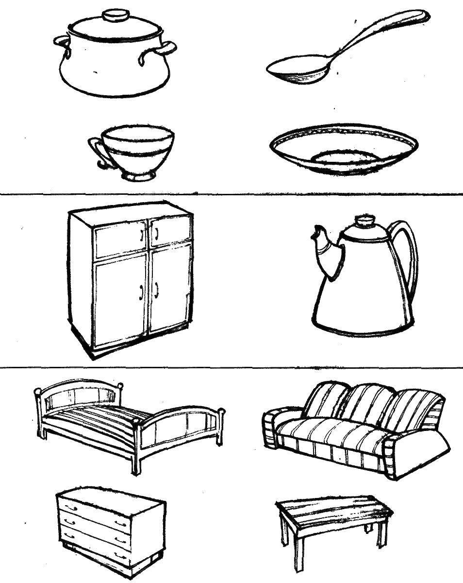 Название: Раскраска Выбери неверную группу предметов. Категория: найди предметы. Теги: посуда, мебель.
