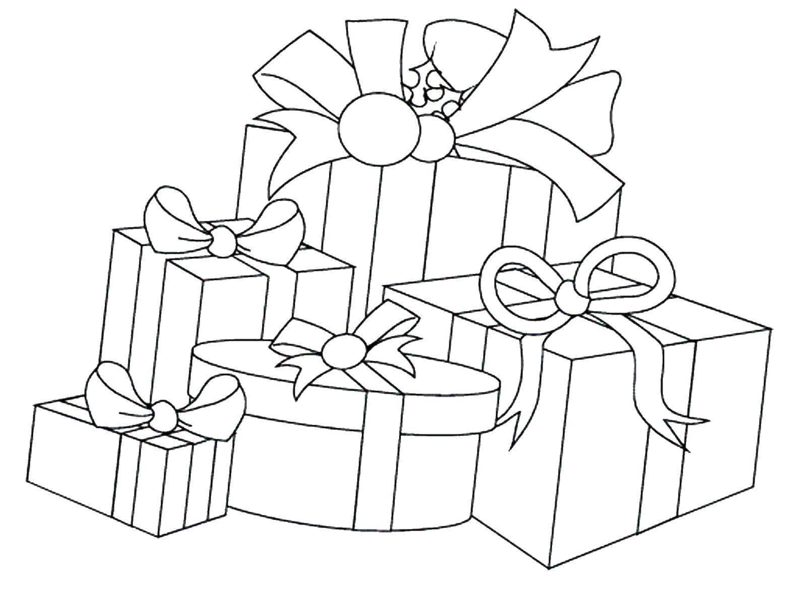 Раскраска Коробки с новогодними подарками. Скачать подарки.  Распечатать ,снег,