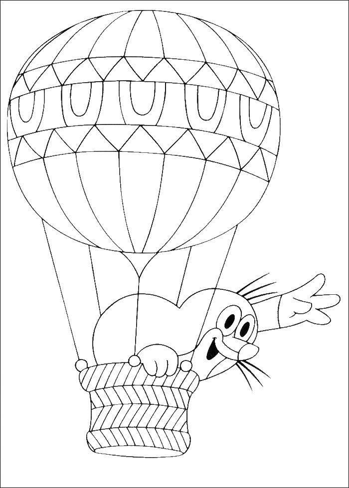 Раскраска Крот на воздушном шаре Скачать ,крот, воздушный шар,.  Распечатать