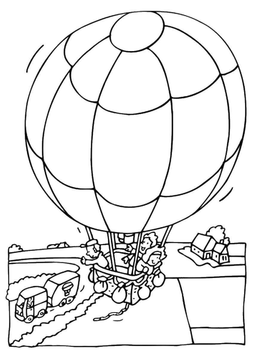 Раскраска Люди катаются на воздушном шаре Скачать ,воздушый шар,.  Распечатать