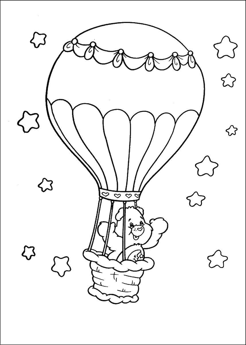 Раскраска Радужный мишка на воздушном шаре Скачать ,воздушный шар, радужный мишка,.  Распечатать